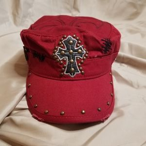 Sinful By Affliction Red Studded Fleur De Lis Hat
